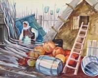 In the farmstead, watercolour