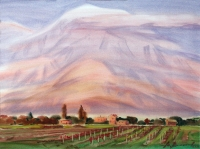 Ararat almost not seen. Watercolor.