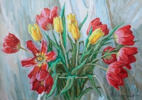 Bouquet of tulips. Oil.Canvas.