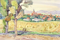 Filds in Malchin, watercolour