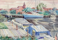Harbor in Malchin, watercolour